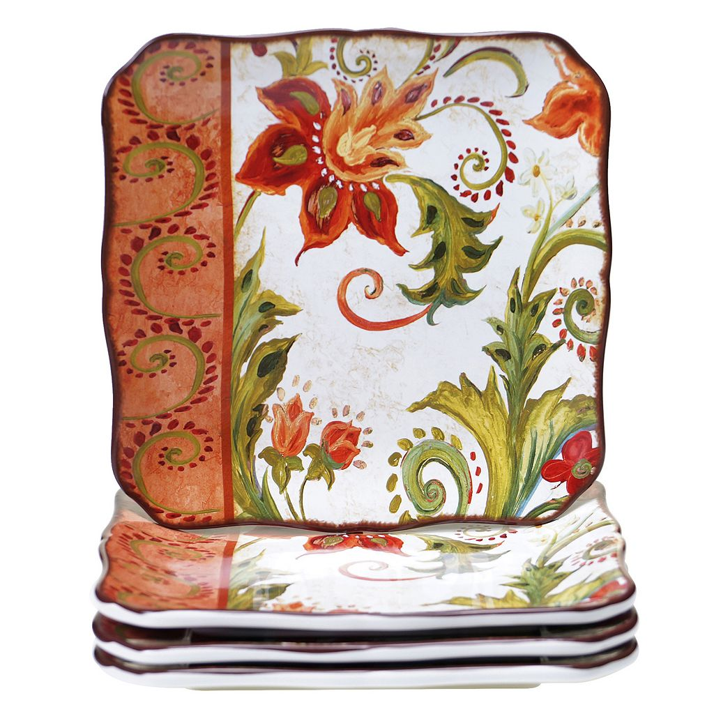Certified International Spice Flowers 4-pc. Square Dinner Plate Set