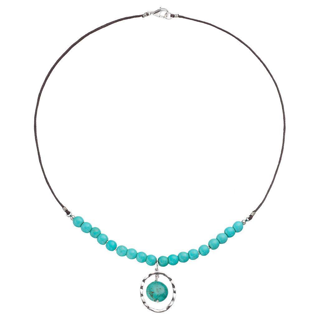 Sterling Silver Simulated Turquoise Beaded Oval Necklace