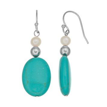 Sterling Silver Simulated Turquoise & Freshwater Cultured Pearl Drop Earrings