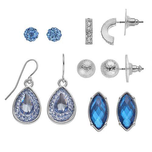 Semi-Hoop, Stud & Drop Earring Set