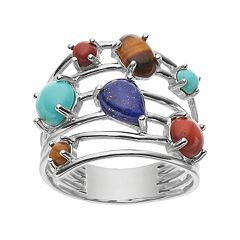 Sterling Silver Simulated Gemstone Cabochon Multirow Ring