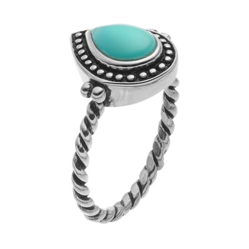Sterling Silver Simulated Turquoise Cabochon Ring