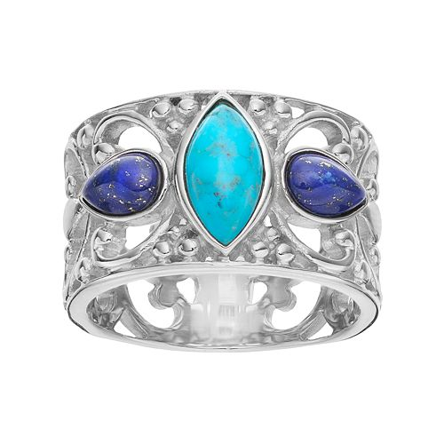 Sterling Silver Simulated Turquoise & Simulated Lapis Lazuli Cabochon Ring