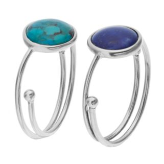 Sterling Silver Lapis Lazuli & Simulated Turquoise Cabochon Adjustable Ring Set