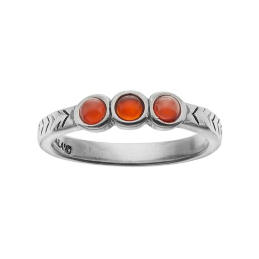 Sterling Silver Simulated Red Jasper Cabochon 3-Stone Ring