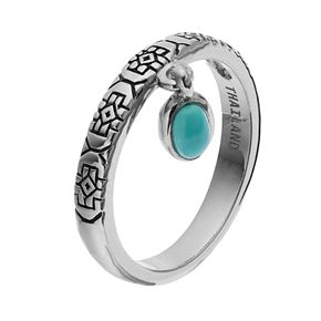 Sterling Silver Simulated Turquoise Cabochon Charm Ring