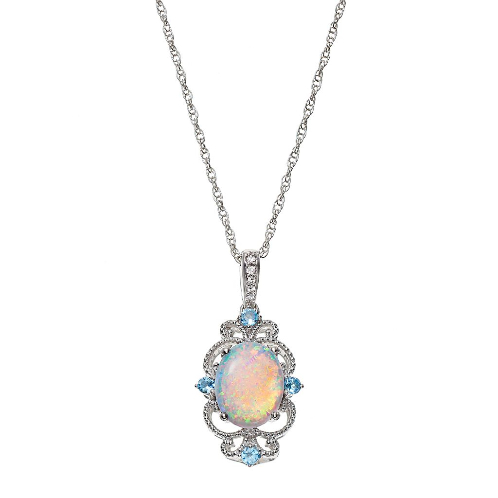 Sterling Silver Lab-Created Opal & Blue Topaz Filigree Pendant