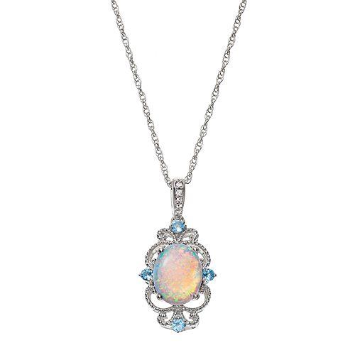 Sterling Silver Lab-Created Opal & Blue Topaz Filigree Pendant