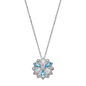 Sterling Silver Blue Topaz & Lab-Created Opal Flower Pendant