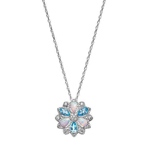 Sterling Silver Blue Topaz & Lab-Created Opal Flower Pendant