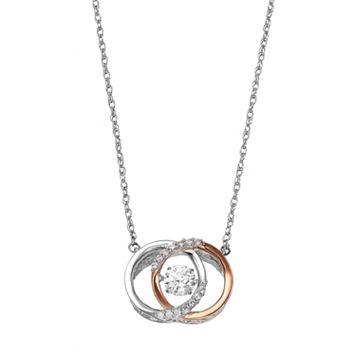 Two Tone Sterling Silver Lab-Created White Sapphire Interlocking Circle Necklace