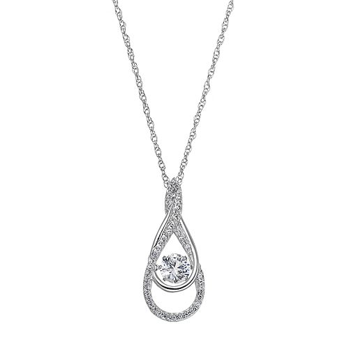 Sterling Silver Lab-Created White Sapphire Double Teardrop Pendant