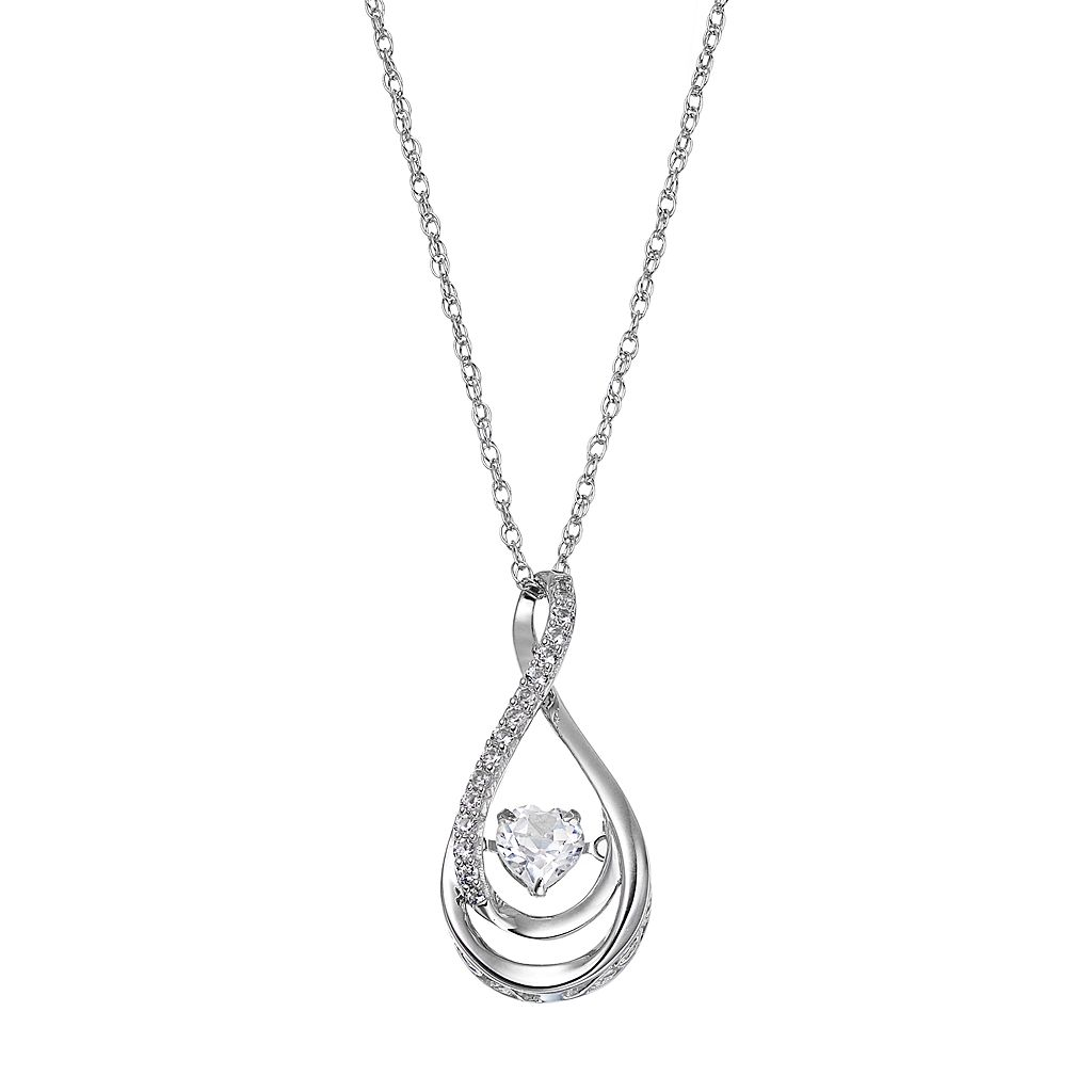 Sterling Silver Lab-Created White Sapphire Heart Teardrop Pendant