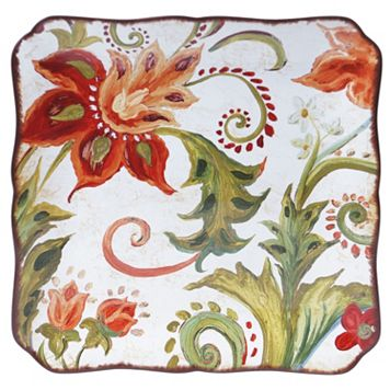 Certified International Spice Flowers 14.25-in. Square Serving Platter