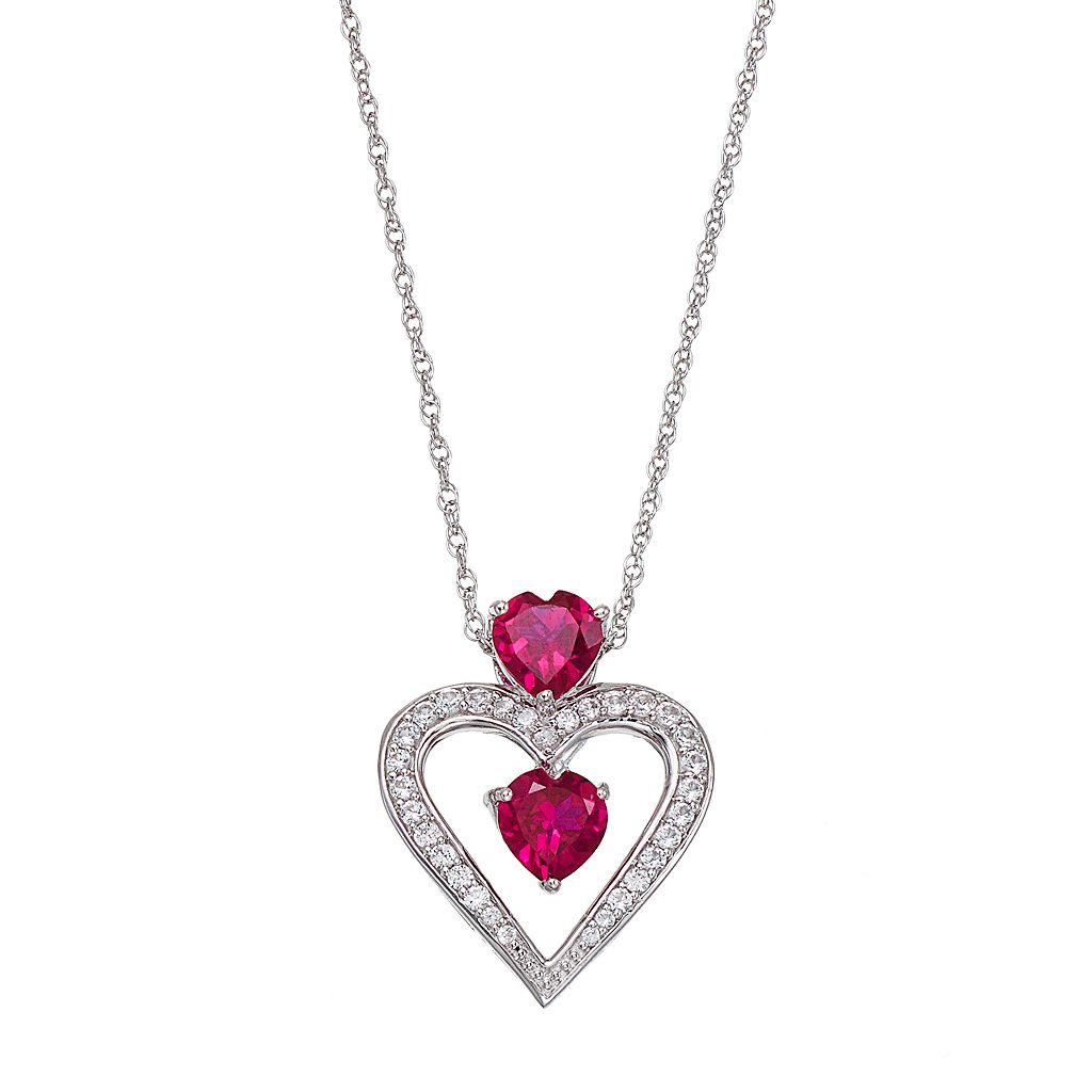 Sterling Silver Lab-Created Ruby & Lab-Created White Sapphire 2-Stone Heart Pendant Necklace