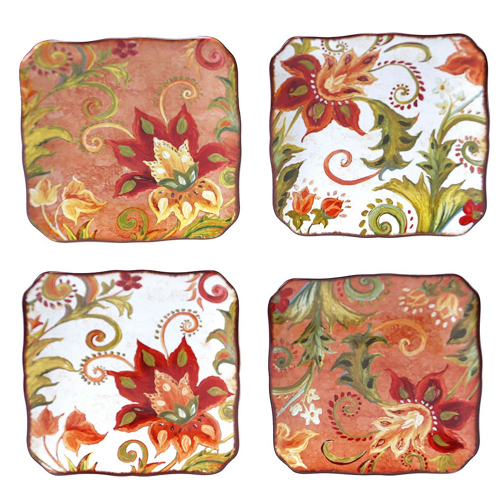 Certified International Spice Flowers 4-pc. Canape Plate Set