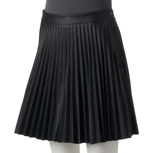 Juniors' Love, Fire Pleated Faux-Leather Skirt