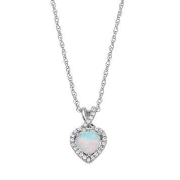 Sterling Silver Lab-Created White Opal & Lab-Created White Sapphire Heart Halo Pendant Necklace