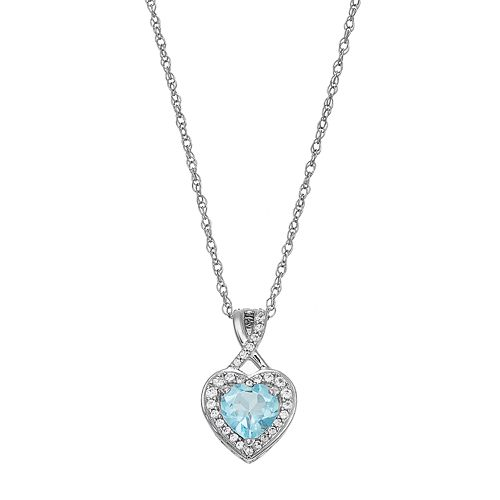 Sterling Silver Simulated Aquamarine & Lab-Created White Sapphire Heart Halo Pendant Necklace