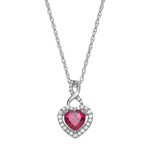 Sterling Silver Lab-Created Ruby & Lab-Created White Sapphire Heart Pendant