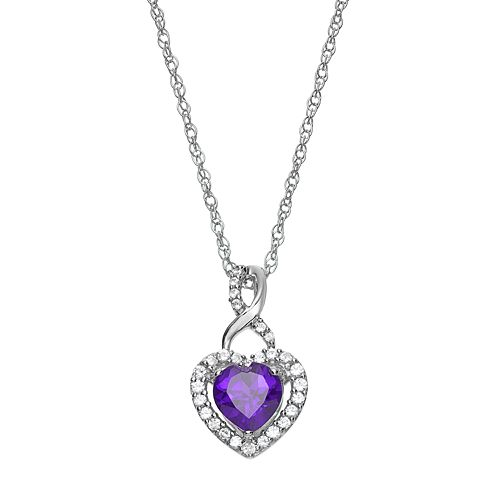 Sterling Silver Amethyst & Lab-Created White Sapphire Heart Pendant