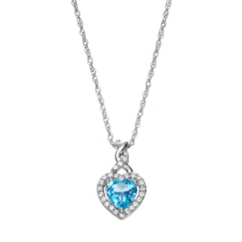 Sterling Silver Swiss Blue Topaz & Lab-Created White Sapphire Heart Pendant
