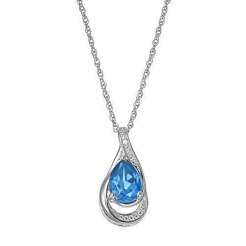 Sterling Silver Blue Topaz & Lab-Created White Sapphire Teardrop Pendant