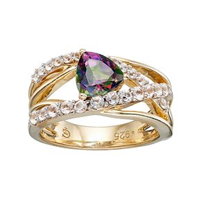 14k Gold Over Silver Mystic Fire Topaz & Lab-Created White Sapphire Crisscross Ring