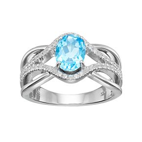 Sterling Silver Swiss Blue Topaz & Lab-Created White Sapphire Swirl Ring