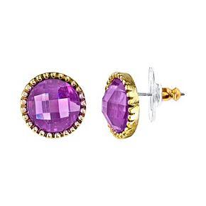 1928 Purple Faceted Stud Earrings