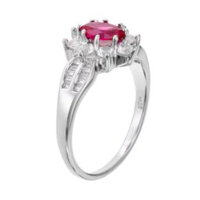 Sterling Silver Lab-Created Ruby & Lab-Created White Sapphire Flower Ring