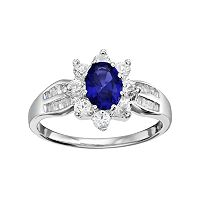 Sterling Silver Lab-Created Blue & White Sapphire Flower Ring