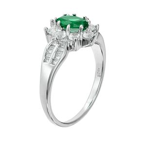 Sterling Silver Simulated Emerald & Lab-Created White Sapphire Flower Ring