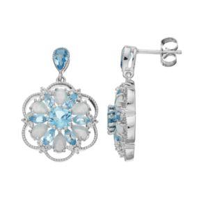 Sterling Silver Gemstone Flower Drop Earrings