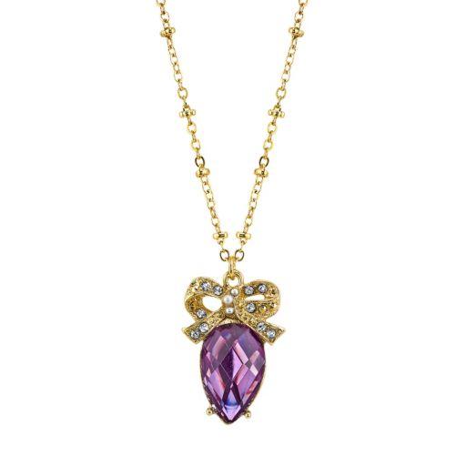 1928 Bow & Purple Teardrop Pendant Necklace