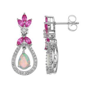 Sterling Silver Gemstone Teardrop Halo Earrings