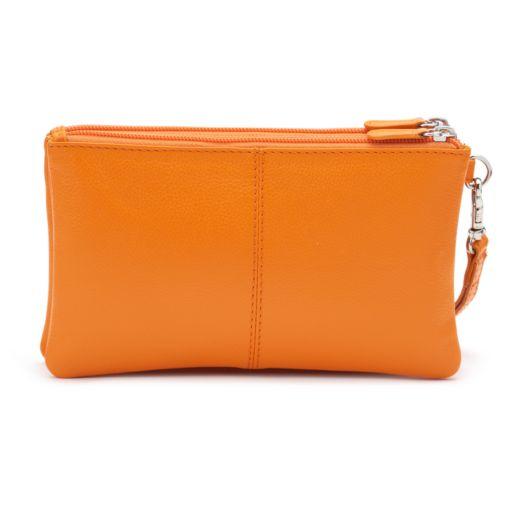 ili Double-Zip Leather Wristlet