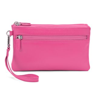 ili Double-Zip Leather Wristlet