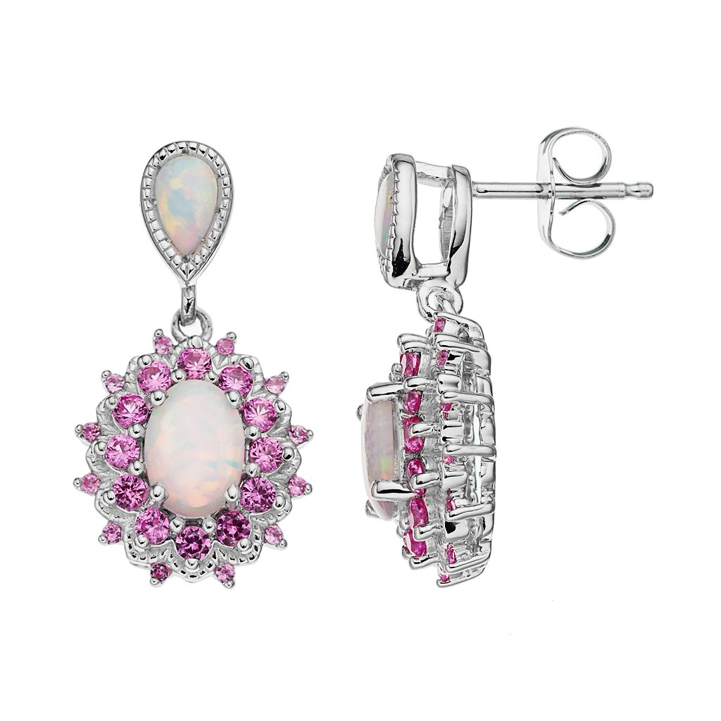 Sterling Silver Lab-Created White Opal & Lab-Created Pink Sapphire Halo Earrings
