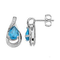 Sterling Silver Simulated Aquamarine Teardrop Earrings