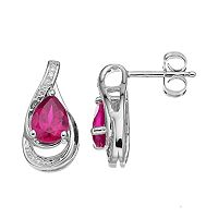 Sterling Silver Lab-Created Pink Sapphire Teardrop Earrings