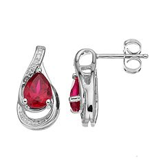 Sterling Silver Lab-Created Ruby Teardrop Earrings