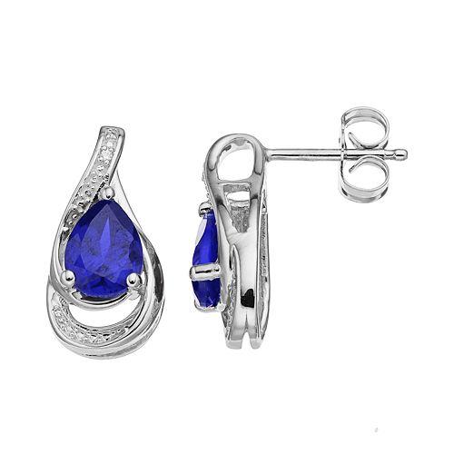 Sterling Silver Lab-Created Sapphire Teardrop Earrings