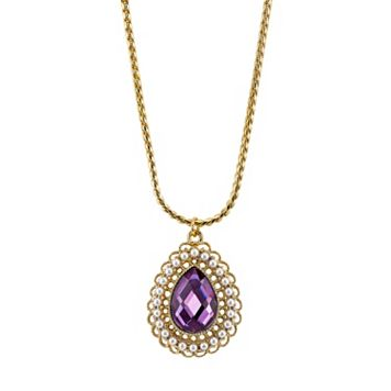 1928 Purple Teardrop Pendant Necklace