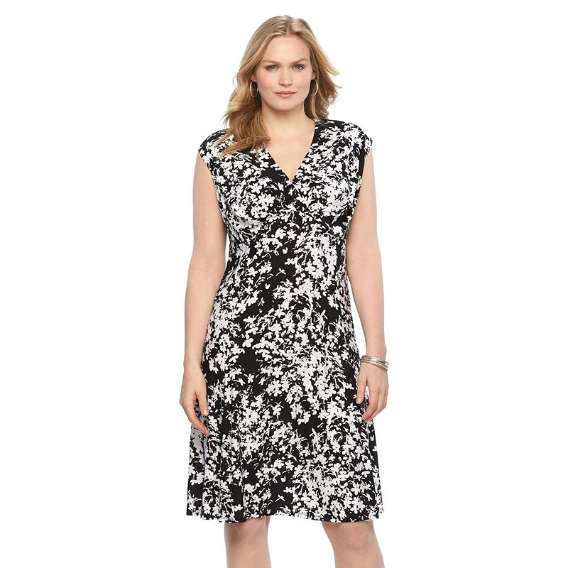 Plus Size Chaps Printed Pleated Empire Dress