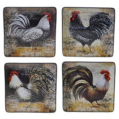 Certified International Vintage Rooster 4 pc Square Dinner Plate Set