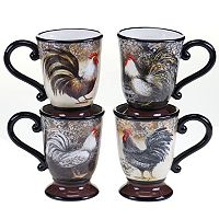 Certified International Vintage Rooster 4-pc. Coffee Mug Set
