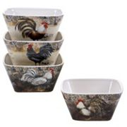 Certified International Vintage Rooster 4 pc Ice Cream Bowl Set