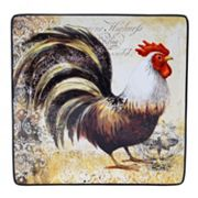 Certified International Vintage Rooster 12.25 in Square Serving Platter Set