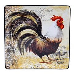 Certified International Vintage Rooster 12.25 in Square Serving Platter Set